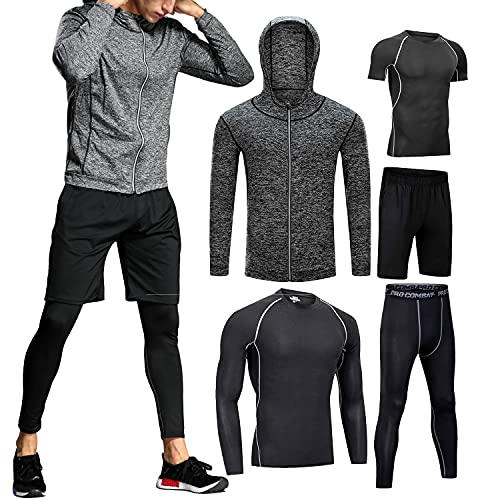 Boomcool Men Fitness Workout Clothing Gym Running Compression Pants Shirt Top Long Sleeve Jacket Set Gray