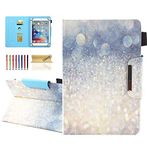 Dteck Folio Universal Case for 6.5-7.5 Inch Tablet - [Anti-Slip Stand] PU Leather Pretty Wallet Case Cover for Samsung Tab/Kindle Fire 2019/LG G Pad/Lenovo Tab/Android 7.0 Inch 7' Tablet-Sand