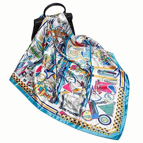 JS-Bonita Damen Quadrat Persönlichkeit Print Seidenschal Urlaub Sonnencreme Schal Schal (Color : 02)