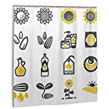DM Maker 3D Printing Novelty Sunflower Cute Icon Shower Curtain for Kids Bathroom Wrinkle Water Resistant Polyester Fabric Shower Curtain 66 X 72 Inch with 12 Hooks