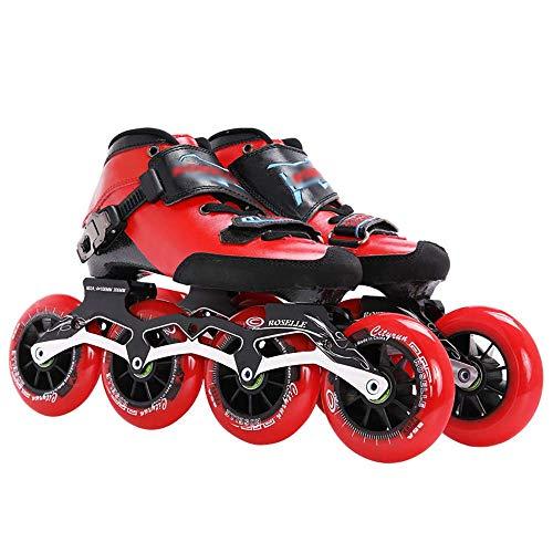 Professionelle Inline Speed Skates Schuhe für Innenleichtathletik-Rennen Beschleunigung Wettbewerb 110mm 100mm 90mm Carbon-Faser-Roller, mit Alle Räder leuchten, Spaß Illuminating für Mädchen und Da