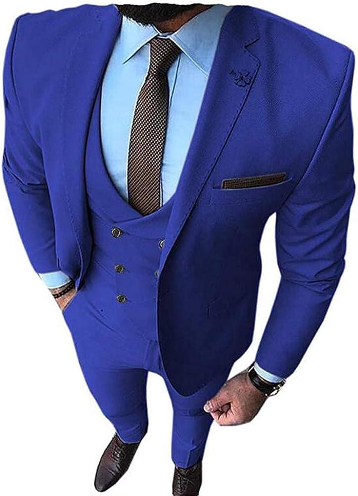 TOPG Men's Slim Fit Notch Lapel 3 Pieces Suit Business Suits Wedding Groom Tuxedos