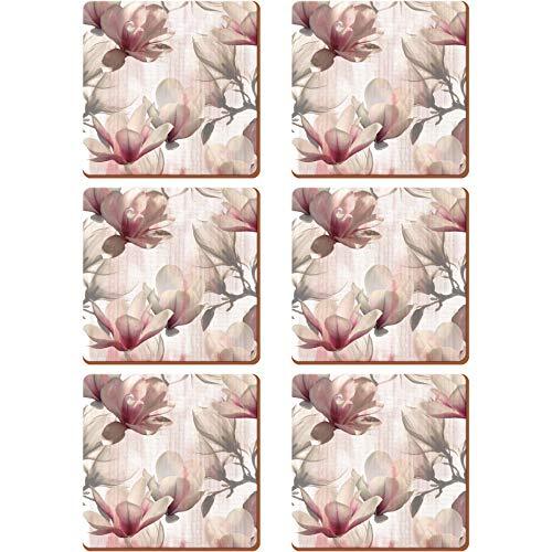 Creative Tops 5176607 Magnolia' - Set di 6 sottobicchieri con retro in sughero, 10,5 x 10,5 cm, colore: Rosa
