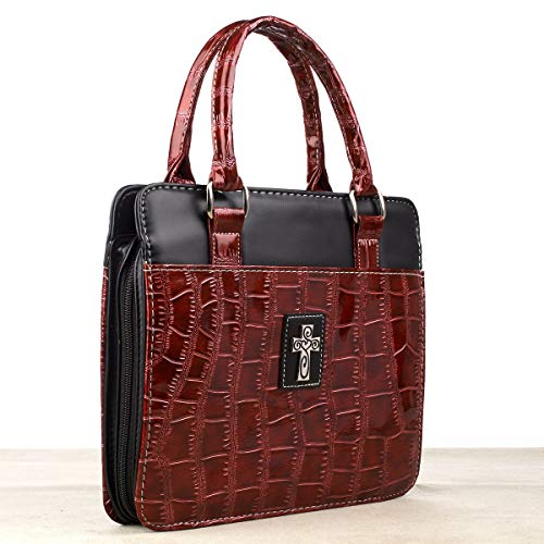 Croc-Embossed Patent Purse-Style Bible / Book Cover w/Cross (Large, Burgundy)