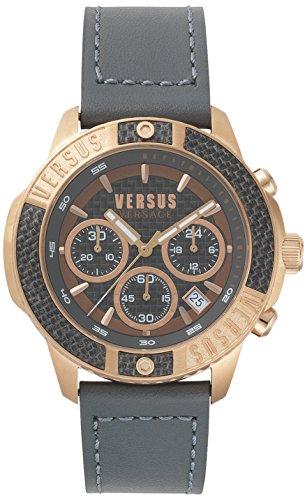 Versus by Versace mannen analoog kwarts horloge met lederen armband VSP380317