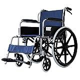 YDYBY Silla de Ruedas con Freno de Mano, Color Negro, Silla de Ruedas Plegable para Personas Mayores y discapacitadas Respaldo cómodo Transporte Silla de Ruedas,Azul
