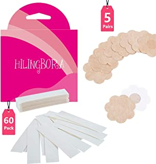 HILINGBORA Fashion Beauty Tape(60 pack) Double Sided For Fashion and Body & Adhesive Bra Petal Tops (5 pairs Flower-shaped nipple covers)