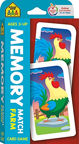 School Zone - Memory Match Farm Card Game - Ages 3+  Preschool to Kindergarten  Animals  Early Reading  Counting  Matching  Vocabulary  and More (School Zone Game Card Series)