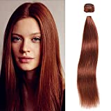X-tress Cooper Red Straight Brazilian Remy Hair Bundle Color 33 Hair Weave Human Hair Extension Auburn Red 100% Virgin Human Hair Weave (8 Inch)