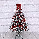WOXING Árbol De Navidad,PVC Duradera Arbustivo Arbol De Navidad Nevado,Deluxe Tree Star Arbol De Navidad,Blanco Cálido Llevó-Rojo 180cm(71inch)