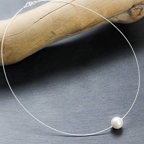 KLassisches Perlen-Collier mit weichem Silber-Reif und 925 Sterling Silber/in allen Längen/weiß schimmernde echte Muschelkern-Perle/auch mit Magnet-Verschluß