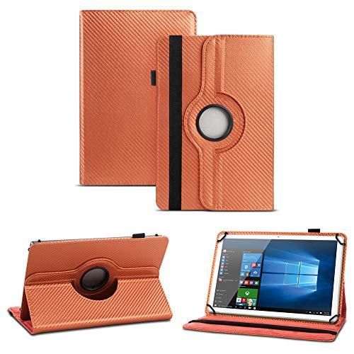 NAUC Blaupunkt Polaris A08.G301 Tablet Schutzhülle Tasche Cover Hülle Carbon-Erscheinungsbild 360°, Farben:Bronze