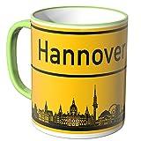 WANDKINGS® Tasse, Skyline Hannover - HELLGRÜN