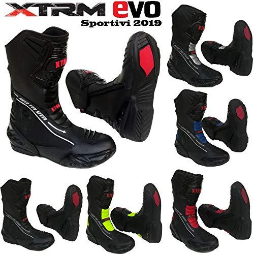 MotorradStiefel XTRM EVO Motorrad Lederstiefel Allround Sportstiefel, TourenSchuhe fur Manner und Frauen, Mehrere Farben (Schwarz,EU 40/6)