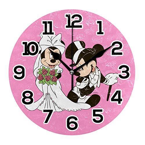 Reloj de pared con diseño de Mickey Mouse Minnie y Minnie, acrílico decorativo, funciona con pilas, para el hogar, dormitorio, sala de estar, decoración silenciosa, no hace tictac
