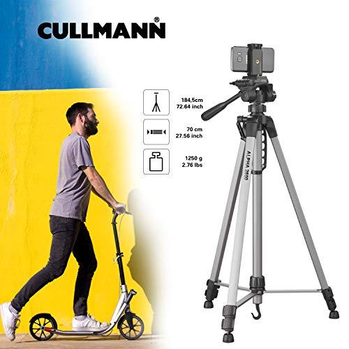 Cullmann Alpha 2800 Stativ mobile m. Smartphonehalter (184, 5 cm Höhe, mit 3-Wege-Kopf, 2 Auszüge) silber