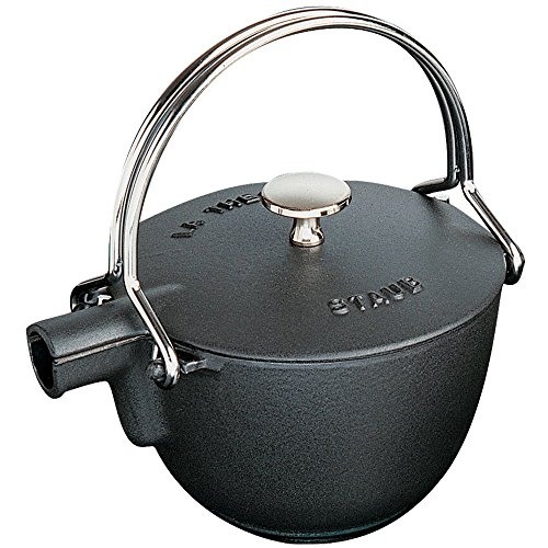 STAUB Cast Iron Round Tea Kettle, 1-quart, Black Matte