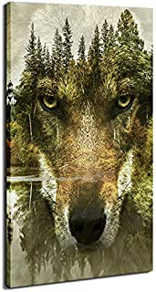 DVQ ART Green Forest Wolf Face Canvas Panel Wall Art Animal Cool Posters for Wall Wolves Pictures Prints Mural Framed Artwork Ready to Hang for Living Room Decor (20x40Inch)