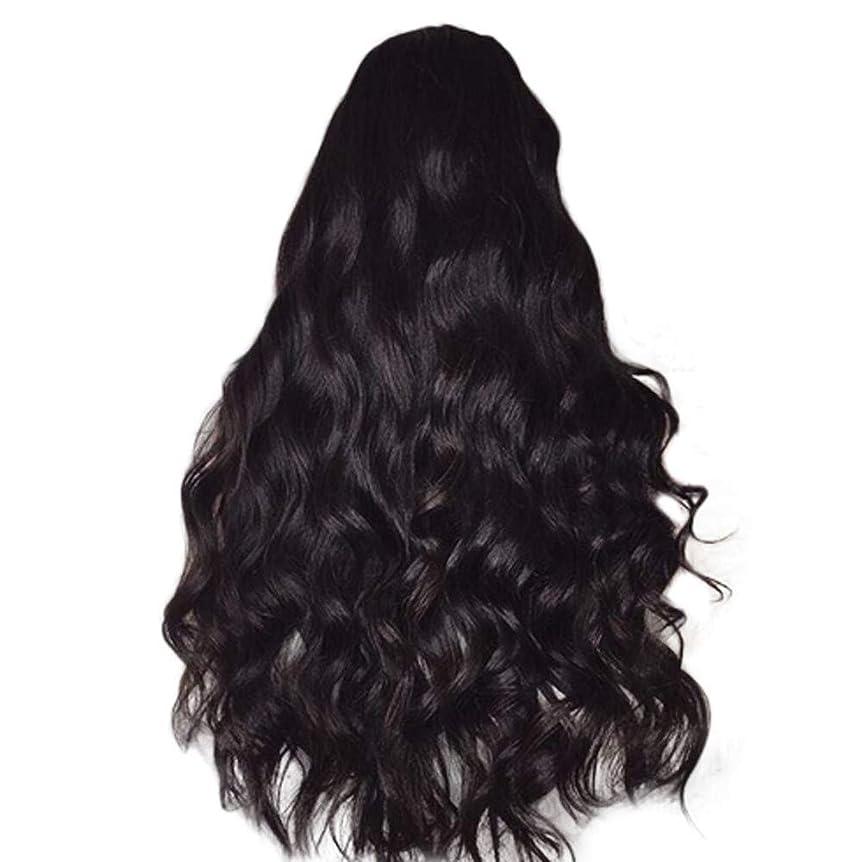 スノーケル金銭的な刺繍女性のかつら長い巻き毛黒ふわふわビッグウェーブウィッグ65 cm