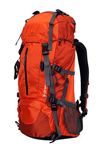 Topsky Outdoor Sports Waterproof Hiking Climbing Internal Frame Backpack Unisex 40L 50L 60L Lightweight Trekking Travel Daypacks with Rain Cover (Orange, 60L)