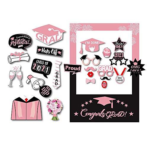 Kit di accessori per foto con cornice di carta per selfie e cornici, colore rosa e nero, per feste di laurea, 2021