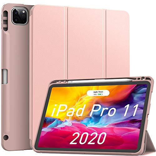 Soke iPad Case Pro 11in 2020 with Pencil Holder,New iPad case 11 inch Lightweight Smart Cover with Soft TPU Back +【Apple Pencil Charging】+Auto Sleep/Wake for iPad Gen 2020 (Rose Gold)