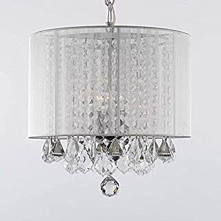 Crystal Chandelier Chandeliers With Large White Shade! H15