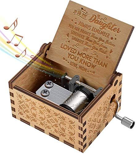 Caja de música de madera para, eres mi sol, regalo de mamá a hija, caja de música de madera con manivela vintage grabada con láser, los mejores regalos para niños, niños para cumpleaños / Navidad.
