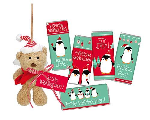 STEINBECK Minischokolade 18g Nikolaus Weihnachten Plüsch Bär Teddy Befüllung Adventskalender Geschenk süß Mitgebsel Merry Christmas Wichtelgeschenk Pinguin Weihnachtsgeschenk