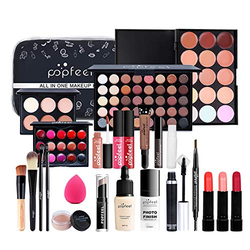 Professional Makeup Set,MKNZOME 24 Pcs Cosmetic Starter Kit With Storage Bag Portable Travel Make Up Palette Birthday Xmas Gift Set Full Sizes Eyeshadow Face Powder Lip Gloss for Teenage & Adults
