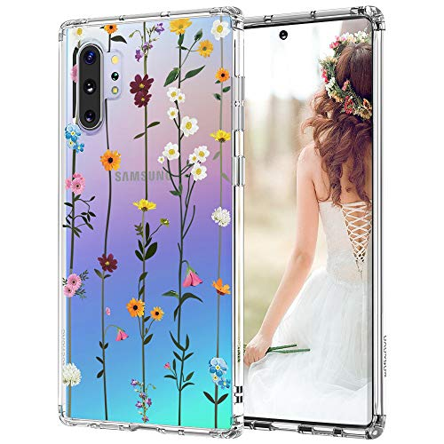 Case for Galaxy Note 10 Plus/Galaxy Note 10 Plus 5G,MOSNOVO Shockproof TPU Bumper Slim Clear Wildflower Cases with Floral Design for Samsung Galaxy Note 10 Plu 5G Phone Case Cover