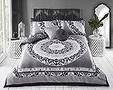 Sleepdown - Set di biancheria da letto matrimoniale reversibile e federe, in cotone, grigio