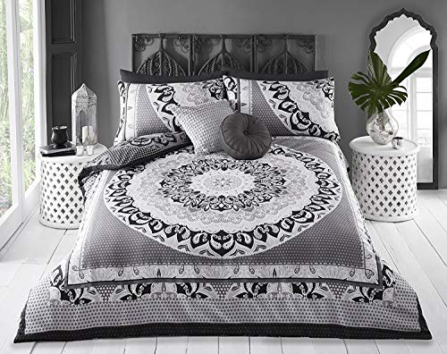 Sleepdown Reversible Double Duvet Cover Set. Easy Care And Super Soft Cotton Design. Black and Grey Paisley Pattern quilt. Size 220x260 cm + 2 matching pillowcase.