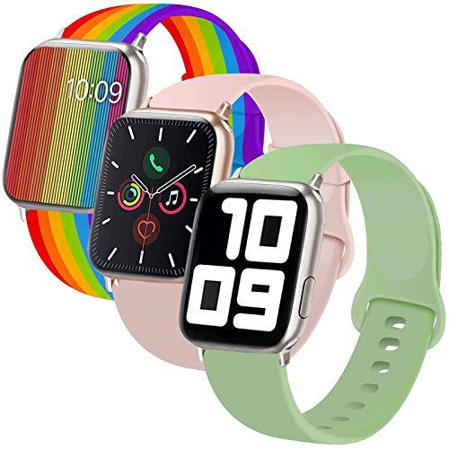 INZAKI Compatibile con Cinturino Apple Watch 38mm 40mm, Cinturino di Ricambio Sportivo Classico in Silicone Morbido per Braccialetto per iWatch Serie 5/4/3/2/1,S/M, Rosa Sabbia/Mint/Pride