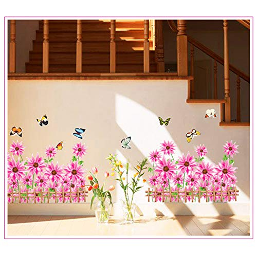 Gartenhaus Möbel dekorative Wandaufkleber Abziehbilder Grasblume Schmetterling Fechter