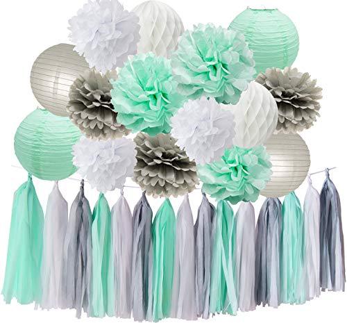 HappyField Baby Shower Decoraciones Mint Grey White Party Decoration Kit Papel Tisular Pom Pom Honeycomb Ball Tassel Garland para Decoraciones de Fiesta de Cumpleaños / Decoración de la Ducha Nupcial