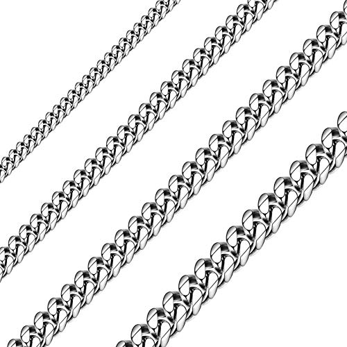 Sunling Solid Stainless Steel Cuban Chain Necklace for Men and Women Waterproof Curb Link Necklace Chain-Widths 3.5mm 5mm 7mm 9mm-Chain Lengths 16'-36'