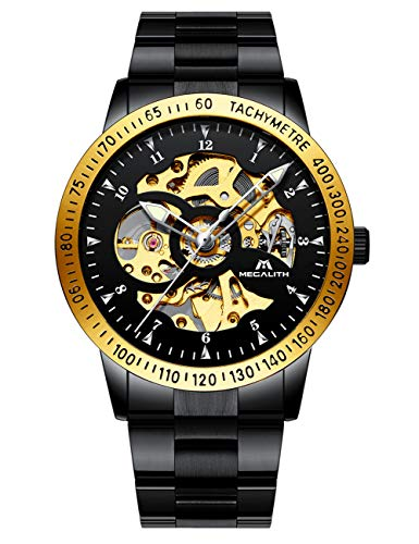Relojes Hombre Reloj Mecánico Automático Deportes Impermeable Oro Esqueleto Diseño Relojes de Pulsera de Acero Inoxidable Negro Luminosos Analógico