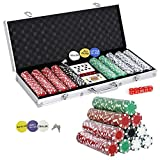 Smartxchoices 500 Poker Chip Set 11.5 Gram Dice Style Clay Casino Poker Chips w/Aluminum Case Cards Dices Blind Button for Texas Holdem Blackjack Gambling