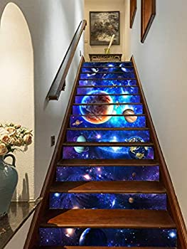 FLFK 13pcs Solar System with Planet Self-Adhesive Staircase Stickers Wall Murals 39.3  w x 7  h x 13pieces