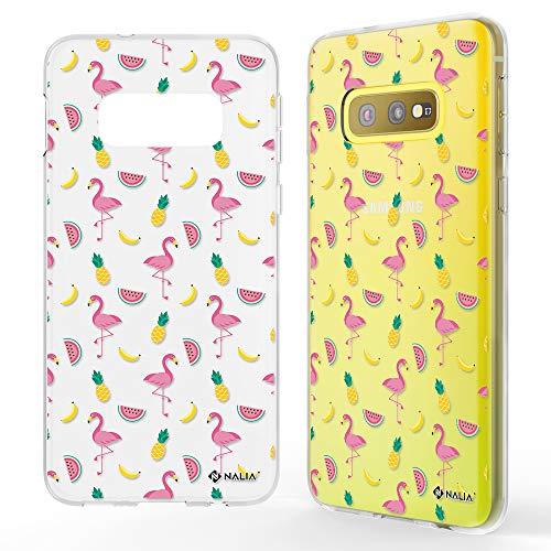 NALIA Carcasa Motivo Compatible con Samsung Galaxy S10e, Ultra-Fina Funda Silicona Movil Protectora, Delgado Transparente Goma Cubierta Telefono Bumper Cover Gel Case, Designs:Fiesta de Flamenco