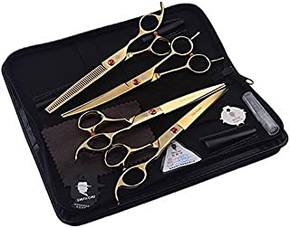 Smith Chu 7 Inch Professional Purple Dog PET Grooming THINNING Scissors Shears Straight&Curved&Thinning 4 Pcs Kits
