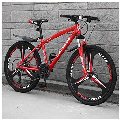 COSCANA Bicicleta De Montaña De 26 Pulgadas, Suspensión Delantera 21-27 Velocidades Marco De Acero Al Carbono De Alta Resistencia MTB con Freno De Disco Doble para Adultos, AdolescentesRed-21 Speed