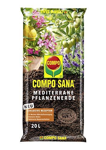 Compo SANA Mediterrane Kübelpflanzenerde mit 12 Wochen Dünger für alle mediterranen Pflanzen, Kultursubstrat, 20 Liter, braun