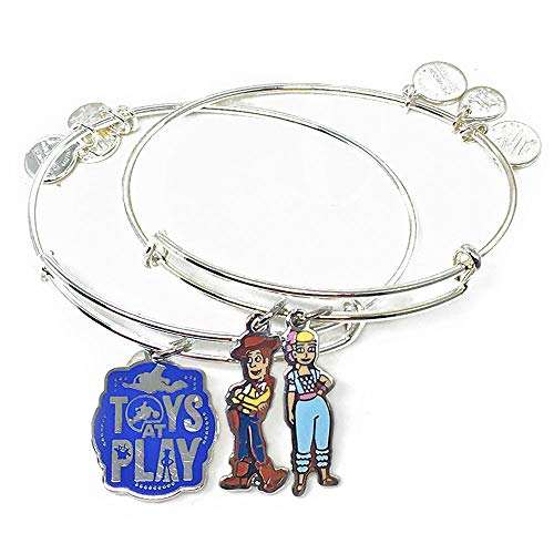 Alex and ANI Disney Parks Toy Story 4 Woody and Bo Toys at Play - Set of 2 Bangles - Inspirational Quote - Charm Bracelet Jewelry Gift (Silver Finish)