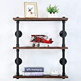 Industrial Pipe Shelf Wall Mounted,Steampunk Real Wood Book Shelves,Rustic Metal Floating Shelves,Wall Shelving Unit Bookshelf Hanging Wall Shelves,Farmhouse Kitchen Bar Shelving(3 Tier,24in)
