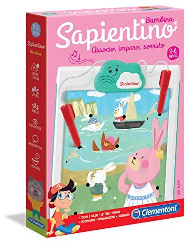 Clementoni - 16214 - Sapientino Bambina, schede attività e penna interattiva - gioco educativo 3 anni, elettronico parlante con batterie incluse - Made in Italy