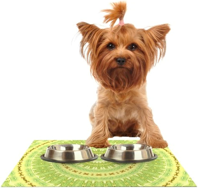 KESS InHouse Iris Lehnhardt Wheel of Spring  Circle Green Feeding Mat for Pet Bowl, 24 by 15Inch