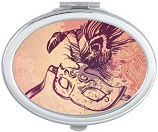 DIYthinker Watercolor Mask Happy Carnival Of Venice Oval Compact Makeup Mirror Portable Cute Hand Pocket Mirrors Multicolor