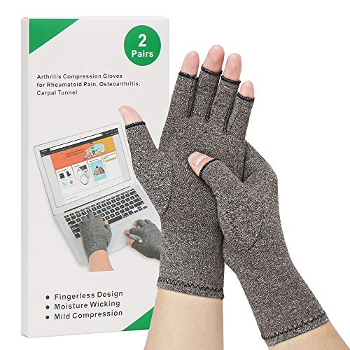 2-Pair Arthritis Compression Gloves for Alleviate Rheumatoid Osteoarthritis, Carpal Tunnel Raynauds Disease, Ease Muscle Tensi on Fingerless, Breathable & Moisture, Women and Men (Gray, Medium)
